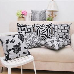 Wholesale Vintage White Pillowcases - Home Pillow Cover Pattern Modern Soft Cotton Linen Pillowcase Vintage Square Cushion Cover Black White Geometry Pattern Pillow Case