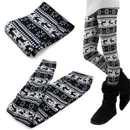 Wholesale Winter Snowflake Print Leggings - Wholesale- Women Winter Warm Retro Knitted Snowflakes Pants Multi-Colors Figure Leggings Pants for lbd text