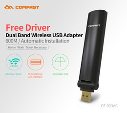 Wholesale C B G - Wholesale- Comfast CF-923AC Free driver 2.4G+5GHz Wireless WIFI USB Adapter Dual Band AC 600M 802.11a c b g n WiFi adaptor Gigabit adapte
