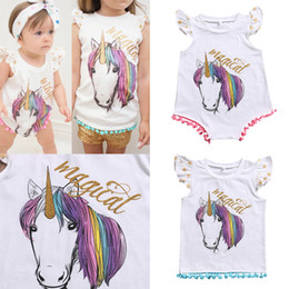 Wholesale Wholesale Toddlers T Shirts - INS Baby Girls cotton unicorn tassel Romper Summer Cartoon Infant Bodysuit Summer Unicorn Printed ponpon tassel Toddler T-shirt Newborn Tops