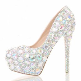 Wholesale White Platforms Heels For Bride - 14 cm classic Colorful crystal ultra with waterproof platform heels round head light mouth bride shoes diamond club for women's shoes
