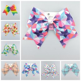 Wholesale Cheer Accessories Wholesale - 30pcs jojo gingham plaid Ribbon Cheer hair Bows clips ties Rainbow ombre geometric Dance Cheerleader Pageant Hair Accessories HD3482