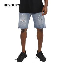 Wholesale Mens Destroyed Denim Shorts - Wholesale- HEYGUYS 2017 high quality street mens hip hop street casual cool black hole cool wear new hot destroyed Denim shorts men