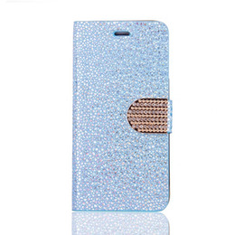 Wholesale Chrome Stands - Diamond Bling Chrome Glitter Wallet Leather Flip Pouch Case For Samsung Galaxy S8 S7 S6 Edge Iphone 7 I7 6 6S Plus Stand Cover Phone 150pcs