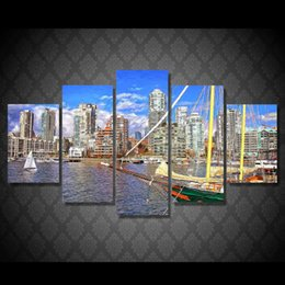 Wholesale 5 Set Framed HD Printed Canada Gorod Pristan Korabl Picture Art Print Poster Canvas Modern Oil Painting