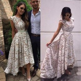 Wholesale Inside Dress - Elegant High Low Prom Dresses Ivory Lace Champagne Inside A-line 2017 Evening Party Gowns Custom Made Vestidos De Noite Longos