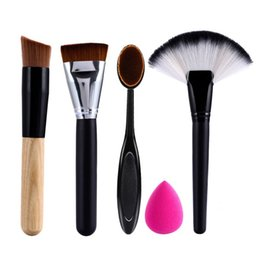 Wholesale Best Travel Kits - 5pcs Best Makeup Brush Set Powder Foundation Travel Cosmetic Brushes Contouring Fan Makeup Brush Tools With Sponge Puff