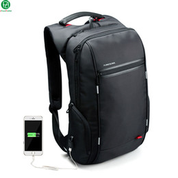 Wholesale Blue Computer Bag - Wholesale- Brand External USB Charge Computer Bag Anti-theft Notebook Backpack 15 17 inch black Waterproof Laptop Backpack for Men Women
