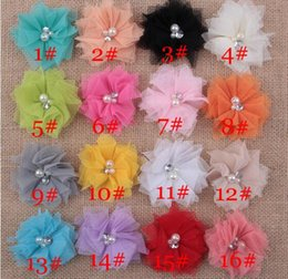 Wholesale Tulle Flower Rhinestone Center - 16 Color Mini Tulle Mesh Chiffon Flowers Rhinestone Pearl In Center DIY Craft Boutique Hair Accessories YH554