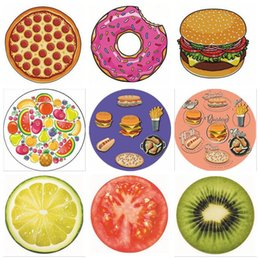 Wholesale Baby Snacks - 19 Designs Snacks Fruits Round Beach Towel Yoga Mat Shower Towel Humburger Pizza Strawberry Ice Cream Pineapple Beach Towel CCA6079 120pcs