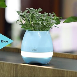Wholesale Wholesale For Night Stands - 2017 bluetooth Smart Music Flower pots touch play flowerpot colorful light long time play bass speaker Night light(without plant) free ship