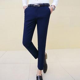 Wholesale Color Plus Formal Man Dress - Wholesale- Man Plus Size Ankle Length Suit Pants Male Slim Fit Casual Elastic Solid Color Skinny Dress Pants Feet Costume Pantalon Homme