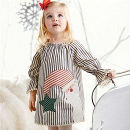 Wholesale Cute Style Babys Girls - Cute Babys Striped Tassel Long Flare Sleeve Girls Lolita Dress Children Autumn Christmas Clothes Lovely Girls Dresses