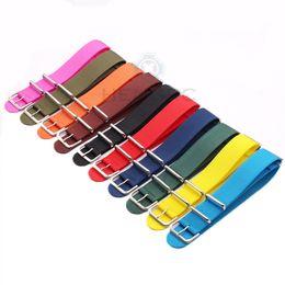 Wholesale Nato Straps - Watchband 18mm 20mm 22mm 24mm 10 Colors Women Men Sport Canvas Nato Nylon Watch Strap Silver Buckle Bracelet Watch Accessories