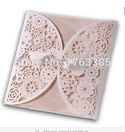 Wholesale Convite Casamento Laser - Wholesale- 12Pcs Lot Laser Cut Wedding Invitations Paper Cards Party Wihte Bow Decoration Printable Flora Favors Convite do casamento