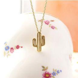 Wholesale Pear Pendant Necklace - 10pcs 2017 Summer Necklace Minimalist Desert Prickly Pear Cactus Pendant Necklace for women Party Gift XL211