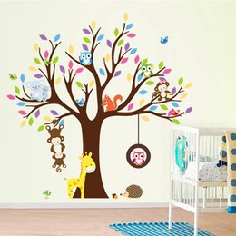 Wholesale Owl Scroll Wall Decal - Hot cartoon cute owl scroll tree XL jungle forest animals kids baby nursery room wall decal stickers wall art murals waterproof wallpaper