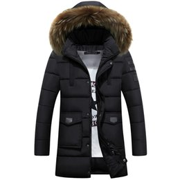 Wholesale Casual Faux Fur Hooded Pad - 2016 New Raccoon Fur Winter Jacket Men Cotton Padded Long Black Thick Warm Casual Hooded Male Coat