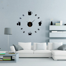 Wholesale Coffee Cup Wall Clocks - Wholesale-Coffee Cups Kitchen wall art mirror clock modern design watches home decoration decor sticker for living