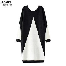 Wholesale ladies long winter robe - Wholesale- Women Sweater Dress White and Black Midi Winter Knitted Long Sleeve Casual Fashion Femme Robes Gowns Office Ladies Clothing