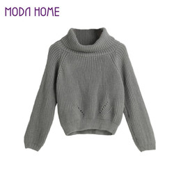 Wholesale Vertical Stripe Shorts - Wholesale- 2017 Winter Womens Pullover Tops Short Knitted Sweater Turtle Neck Vertical Stripes Raglan Warm Clothes Casual Roupas Femininas