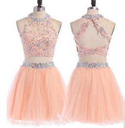 Wholesale Girl Open Sexy Images - Hot Sale Blush Pink Crystal Sparkly Open Back Two Pieces Homecoming Dresses Mini Girl Prom Party Gowns Lovely 2 Homecoming Dress