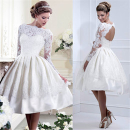 Wholesale Lace Mid Calf Wedding Dress - Long Sleeve Hollow Out White Lace Wedding Women Sexy Party Bride Banquet Elegant Party Formal Prom Dress