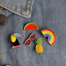 Wholesale Silver Pineapples - Cute Fruit Brooches Watermelon Pineapple Crow Sunglasses Rainbow Jeans Bag Hat Enamel Lapel Pin Brooch Set