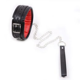 Wholesale sex restraints chains - Black&Red PU Leather Soft Padded Bondage Neck Collar With Chain Leash Choker Necklace,Neck Restraint ,Adults Sex Toys For Couple q0506