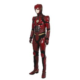 Wholesale Custom Cosplay Outfits - Custom Made 2017 Justice League The Flash Barry Allen Cosplay Costume Outfit For Halloween