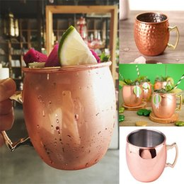 Wholesale Copper Drink - Hot Cocktail glass Moscow Mule Copper Plated Mug Cup Stainless Steel Hammered Copper Mug Drum Cocktail Drink Cups IB326