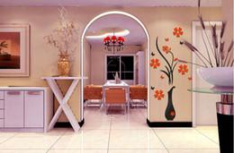 vaso da parete diy Sconti Adesivi murali Acrilico 3D Plum Flower Vase Adesivi Arte del vinile Fai da te Home Decor Rosso floreale Sticker Colori Decorazione Vendita calda 12ld J1