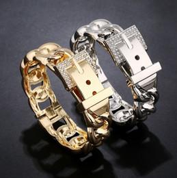 Bracelets de créateur large bande unisexe en forme de ceinture bracelets manchette ton or / argent bracelet manchette bracelets ? partir de fabricateur