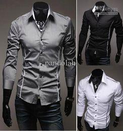 Wholesale Black Designer Mens Dress Shirts - 2017 Mens Fashion Luxury Stylish Casual Designer Dress Shirt Muscle Fit Shirts 3 colors 5 Sizes