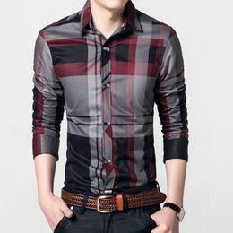 Forma magro da camisa on-line-2018 Camisas Dos Homens Xadrez Camisa Ocasional dos homens Slim Fit Chemise Homme Longo-Luva Social Camisa Da Forma Camisa Masculina Mens Roupas M ~ 4XL