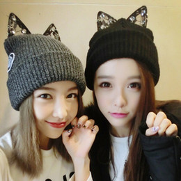 Wholesale Black Cat Ear Wool Hat - 2016 Korean version of the new lace cute cute cat ears knitted wool hat ladies autumn and winter 113107