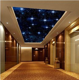 Wholesale Wall Painting Blue Green - Wholesale- Free Shipping 3D stereo mural wallpaper blue sky star KTV wallpaper ceiling non-woven wallpaper wall painting