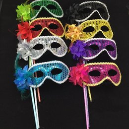 Wholesale Plastic Mask Side Flower - Masquerade Party plastic Masks On stick with cloth lace and side Flower masks for Masquerade Ball Black White colorful party Masks DH002