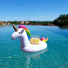 Wholesale Wholesale Beer Holders - DHL Free Inflatable Unicorn Beer Cup Holder Funny Inflatable Floating Drink Holder Toys for Summer Pool Party