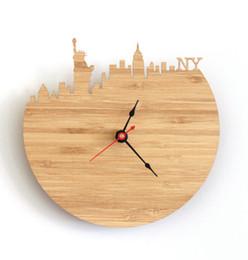 Wholesale High Quality Wall Clocks - Round Skyline City Silhouette New York Wall Clock For Living Room Office Quartz Walls Clocks Fashion High Quality 40sh R