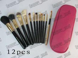 Usine Directe DHL Livraison Gratuite Hot New Maquillage Outils Accessoires Brosses 12 Pièces Brosse Avec Pochette En Cuir Rose! ? partir de fabricateur