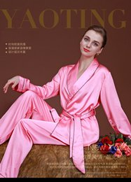 Wholesale Comfortable Sexy Sleepwear - 2017 New summer sexy silk women's nightgowns Cardigan long-sleeved family pajamas two-piece sets Soft comfortable sleepwear women