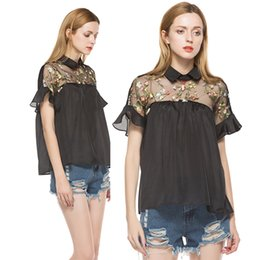 Wholesale Black Tie Neck Blouse - 2017 Summer Women Tops Black Flower Embroidered Shirts Sheer Neck Ruffle Cuff Tie Back Top Woman Short Sleeve Vintage Blouse