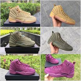 Wholesale Hiking Ny - 2017 Retro 12 PSNY Basketball Shoes For Men,Retros 12s Public School NY Mens Wheat Purple Green Sports Sneakers With Original Box 8-13