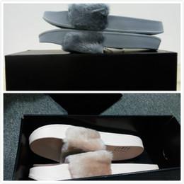 Wholesale Womens Warm Slippers - Rihanna Fur Leadcat Fenty Slides Women Men Slippers House Winter Slipper Home Shoes Woman Warm Slippers Pantofole womens sandals