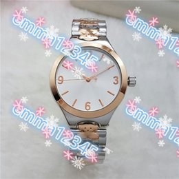 Wholesale Diver Clock - Teddy Bear stainless steel New 5Color luxury products steel quartz clock watch women