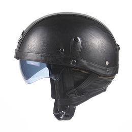 Wholesale Helmet Motorcycle Vespa - Motorcycle Motorbike Rider Half PU Leather Retro Harley Helmet Visor With Collar Motorbike Vespa Open Face Half Motor