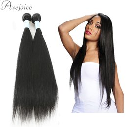 Wholesale Brazilian Virgin Hair 2pcs - Avejoice Grade 8a Virgin Hair Straightener Brazilian Malaysian Peruvian Indian Hair Weave Cheap Straight Human Hair Bundles 2PCS Per Lot