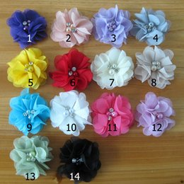 Wholesale Hair Decoration Clips - Pearl Rhinestone Chiffon flowers Little girls Hair Accessories DIY Flower Bouquet Flowers Decorations No Hair clips 6CM