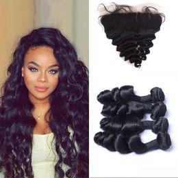 Lose welle seide basis frontal online-Silk Base Frontal mit 4 Bündeln Peruanisches Reines Haar Ohr zu Ohr Silk Frontal mit Loose Wave Haarspinnen DSHINE